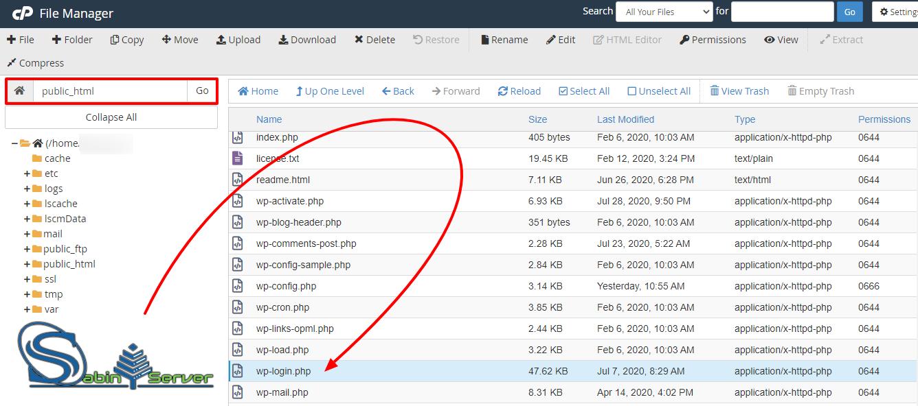 فایل wp-login.php را پیدا کرده و تغییر نام دهید: