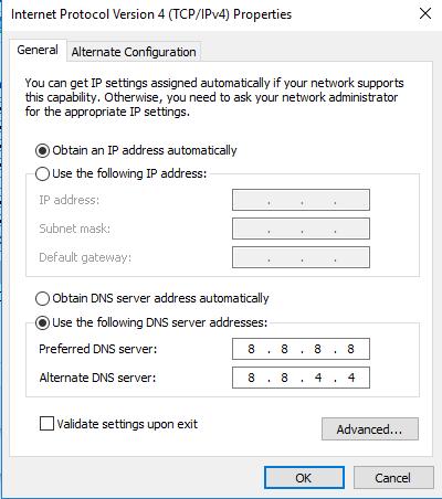 تغییر آدرسIPv4 DNS