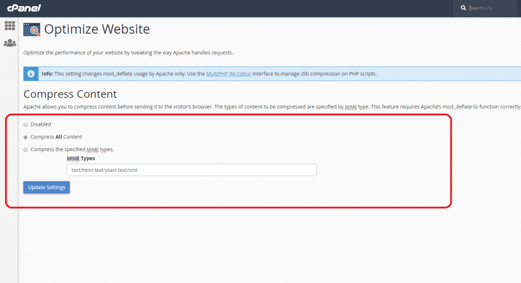 بهینه سازی وب سایت از طریق هاست cpanel