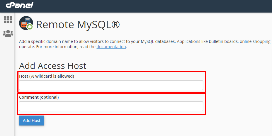 ریموت MYSQL در هاست سی پنل