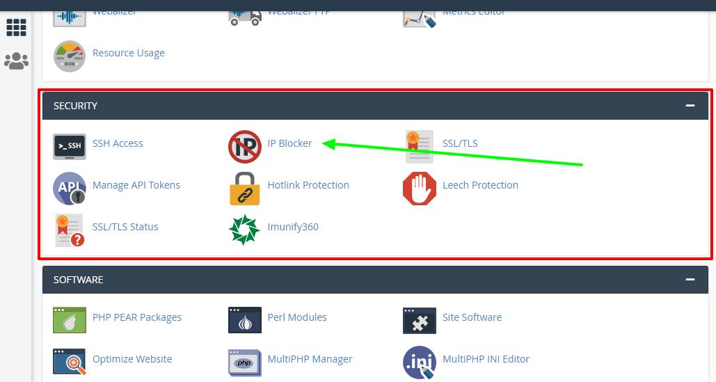انتخاب ip blocker در بخش security سی پنل